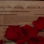 The Program of Events with rose petals